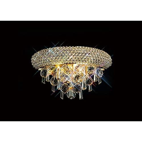 Inspired Diyas - Alexandra - Lámpara de pared pequeña 2 luces oro francés, cristal