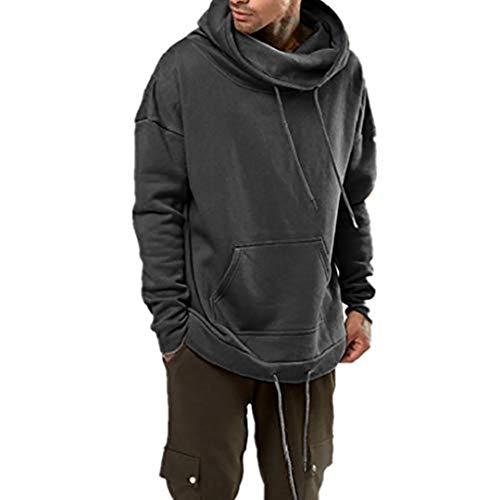 KPILP Herren Basic Kapuzenpullover Slim Fit Slim Fit Pullover Hoodie mit Hoch Abschließendem Kragen Lange Ärmel Freizeit Pullover Sweatshirt Mantel Outwear mit Tasche