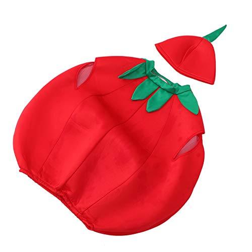 ABOOFAN Disfraz de Tomate para Nios Disfraz de Frutas Y Verduras Disfraz Y Sombrero Novedoso Accesorios de Vestir para Fiesta de Pascua de Cumpleaos de Carnaval (M 120-130Cm)