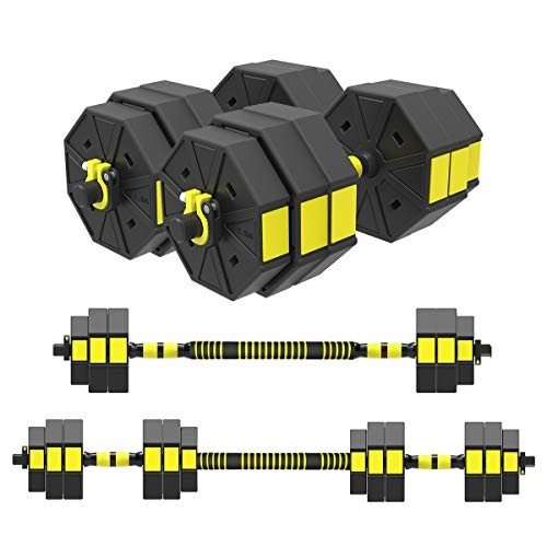 Mikolo Adjustable Dumbbells Barbell 2 in 1 with Connector, Adjustable Dumbbell Barbell Sets 66lbs, All-Purpose, Home, Gym, Office