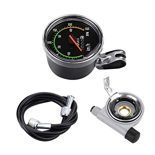 PovKeever Bicicletas Ordenador Mecánico Retro Cuentakilómetros Cronómetro con cable Accesorios para 26...