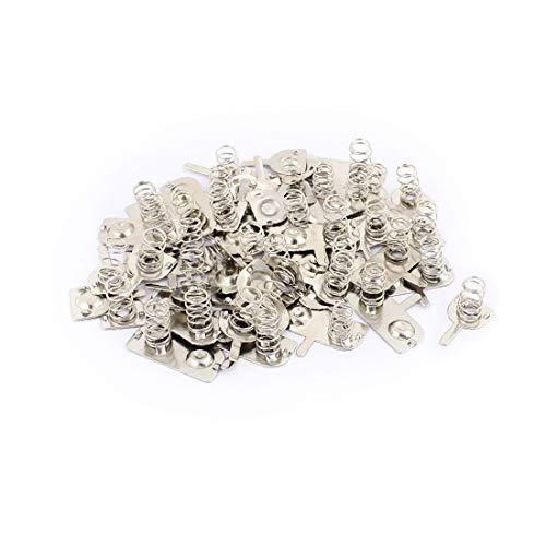 X-DREE 19 Juegos de 2 pilas AAA Positivo Negativo Placa de resorte Tono plateado(19 Sets 2 x AAA Batteries Positive Negative Spring Plate Silver Tone