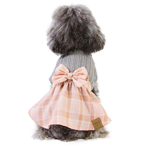 kyeese Dog Dress Plaid with Bowtie Dog Dresses for Small Dogs Cat Dress for Spring Summer