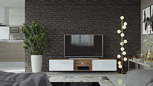 VIGO II Zwevende TV-Meubel (Hoogglans Wit/Country Eik)
