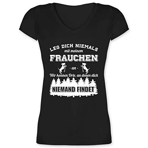 Hunde - Leg Dich Niemals mit Meinem Frauchen an - XS - Schwarz - t Shirt Damen hundesprüche - XO1525 - Damen T-Shirt mit V-Ausschnitt