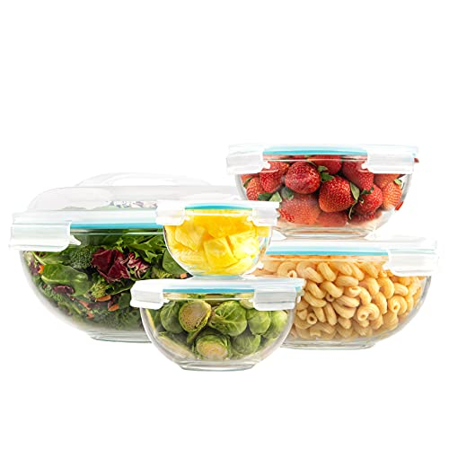 EatNeat 5-Piece Glass Salad Bowl Set With Airtight Locking Lids | Nesting Mixing Bowls for Organization and Food Storage | Microwave and Oven Safe