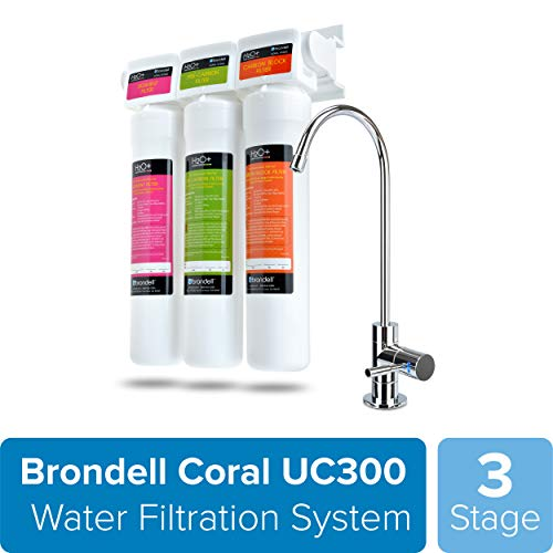 Brondell H2O+ Coral UC300 Three-Stage Undercounter Water Filtration System – Water Purifier with Designer Chrome Faucet – Quick Change Filter, WQA Gold Seal-Certified