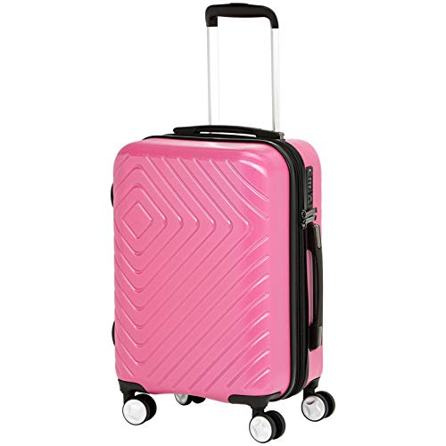 AmazonBasics Geometric Travel Luggage Expandable Suitcase Spinner with Wheels and Built-In TSA Lock, 21.7-Inch - Pink