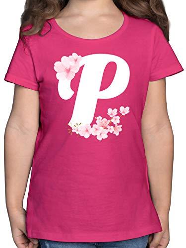 Anfangsbuchstaben Kind - Buchstabe P mit Kirschblüten - 116 (5/6 Jahre) - Fuchsia - Kinder Shirt Buchstabe - F131K - Mädchen Kinder T-Shirt