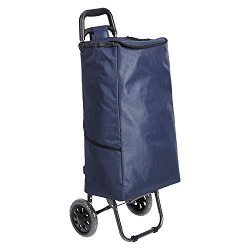 Amazon Basics - Carrito de la compra con 2 ruedas, 40 litros, color azul marino