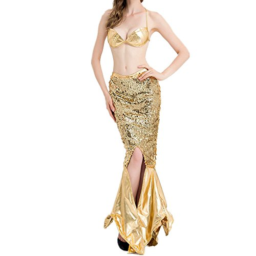 Fadirew Vestido sexy de lentejuelas brillantes para mujer, de cola de sirena, para Halloween, carnaval, disfraz de sirena dorada, 5 tamaños