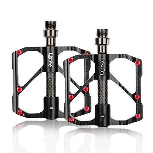 LERWAY Pedales de Bicicleta, Ultraligero MTB Bike Repuesto de Pedales de Ciclismo de Montaña Antideslizantes Pedales Híbridos de Bicicleta de Carretera para 9/16'con Herramienta de Instalación.