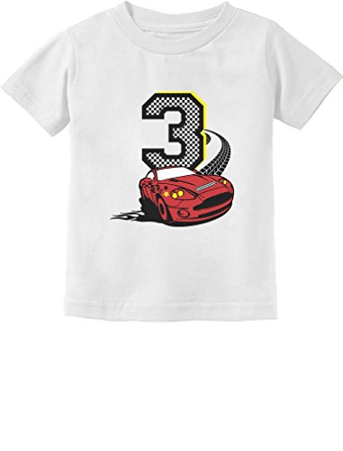 3rd Birthday 3 Year Old Boy Race Car Party Toddler Kids T-Shirt 4T White