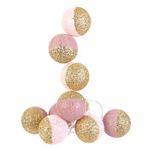 Cmp lichtsnoer met 10 led-bollen, werkt op batterijen, lengte 1,92, kleur roze/goud glitter, batterijen niet inbegrepen