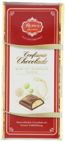 Reber Confiserie-Chocolade, Marc de Champagne, Alpenmilch-Schokolade, Marc de Champagne-Trüffel-Füllung, Tolles Geschenk, 100 g Tafel