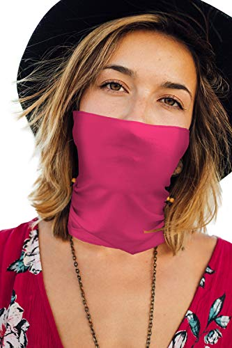 Thin Bandanas Face Mask Neck Gaiter for Summer Made in USA -Fuchsia 1 Layer,One Size