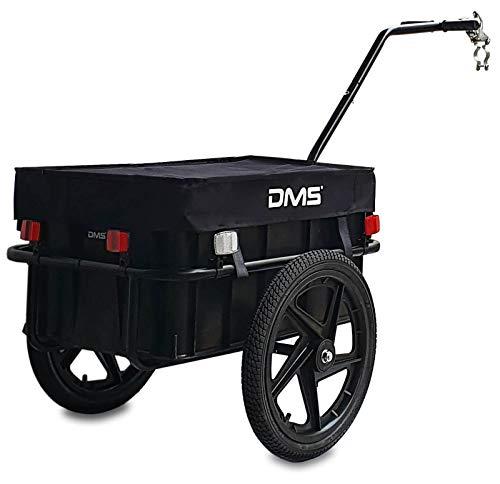 DMS® Fahrradanhänger, Lastenanhänger, Handwagen, mit Hochdeichsel, Transportbox mit 70 Liter Volumen, Max. 60kg, Kugel-Kupplung für Fahrräder mit 26'' - 28'' FH-01 (Schwarz)
