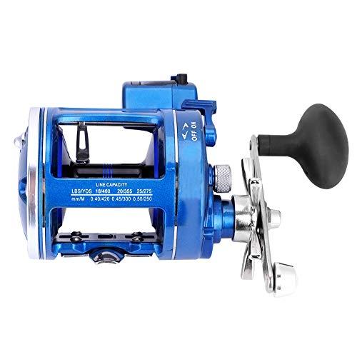 Dioche Carretes de Pesca, Carrete Pesca de la Rueda del Tambor de la Aleación de Aluminio Que Pesca con Caña de Costa 12BB con la Línea Contador(Mano Derecha Azul)