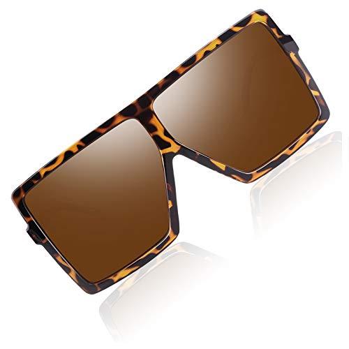 Gafas de Sol Mujer Polarizadas de Marco Cuadrado, Gafas de Sol de Marco Superior Plano de Moda para Mujer CG909