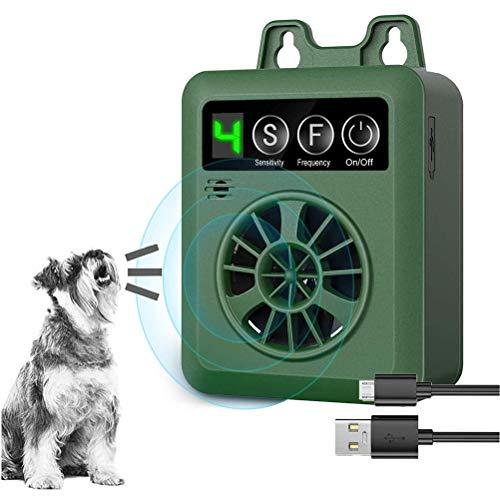 SyeRum Antibellhalsband,Ultraschall Hunde Repeller und Trainer Gerät,USB IP45 Wiederaufladbare Anti-Barking-Gerät mit 4 einstellbaren Empfindlichkeitsstufen für den Außenbereich
