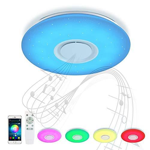 QJUU Lámpara De Techo Led con Altavoz Bluetooth, 24W Moderna Luz De Dormitorio Integrada En El Techo, Iluminación RGB De Control De Aplicación De Soporte Pantalla De Techo para Sala