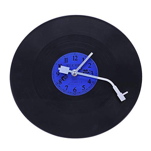 KU Syang Reloj De Pared Retro Redondo De Cuarzo Diseeo Artístico Decoración para Casa Sala Cocina Reloj De Vinilo Plástico Azul + Negro