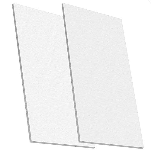 KEILEOHO 2 PCS 6061 T6 Aluminum Sheet Metal, 6 x 12 x 1/4 Inch Thickness, Building Products Plain Aluminum Plate Covered with Protective Film, Heat-Treatable and Corrosion Resistant