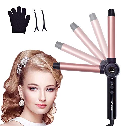 Curling Iron 1 Inch Foldable Hair Curler withCeramic Coating Barrel, Professional Adjuatable Angle Curling Iron Instant Heat up to 450°FDual VoltageAdjustable Temp with LCD Display