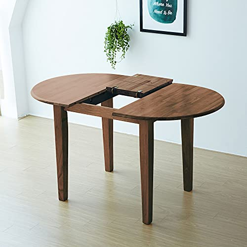 Livinia Tapas Extension Dining Room Table, 40' to 53' Expandable Solid Hardwood Butterfly Leaf Kitchen Table