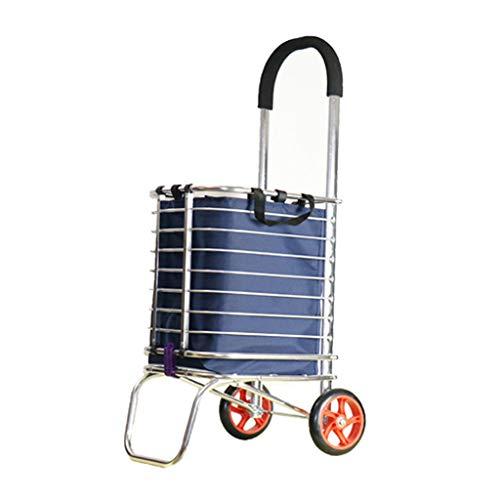 XMGJ Einkaufstrolleys Portable Trolley ~ Einkaufswagen Essen kaufen Kleinwagen Faltbare Treppe Hand Warenkorb Haushalt Portable Basket Trailer Cart Einkaufskörbe & -Taschen