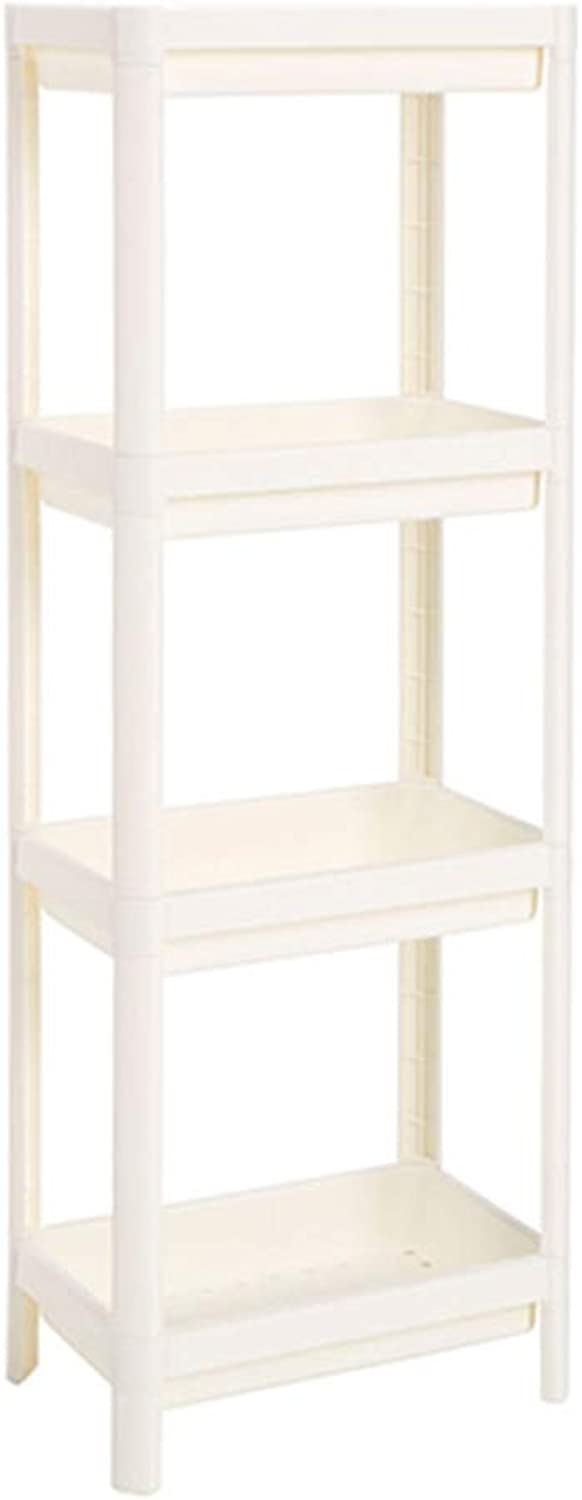 4 Tier Storage Shelf - Movable Kitchen Rack with Hooks for Bathroom Kitchen Office,36.5  23  100cm,White