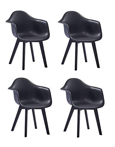 SAM 4er Set Schalenstuhl Luis, Schwarz, ergonomisch geformte Sitzschale aus Kunststoff, bequemer Esszimmerstuhl im Retro-Design, Holzgestell aus Buche schwarz lackiert