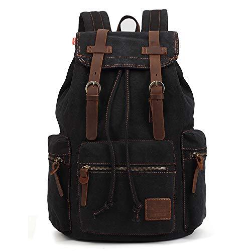 Vintage Rucksäcke 15 Zoll, KAUKKO Damen Herren Schulrucksack Daypack Retro Stylisch Backpack für Outdoor Wanderreise Camping mit Großer Kapazität 27×16×41 cm (schwarz02