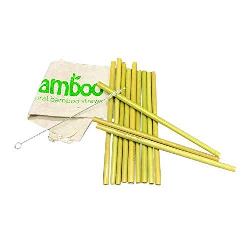 LaLe Living Set van 12 bamboe rietjes als herbruikbaar plasticvrij alternatief voor plastic rietjes, cocktailrietjes met drinkslang, reinigingsborstel en stoffen zak