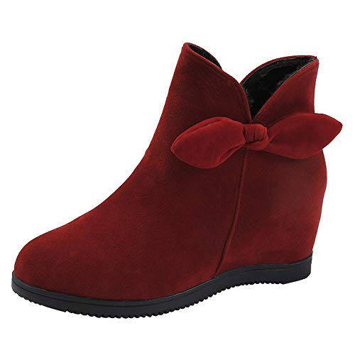 Respctful (●˙▾˙●)Winter 2018 Shoes,Women's Fashion Heels and Pumps Solid Wedges Round Ankle Bootie Zipper Slouchy Boots Red