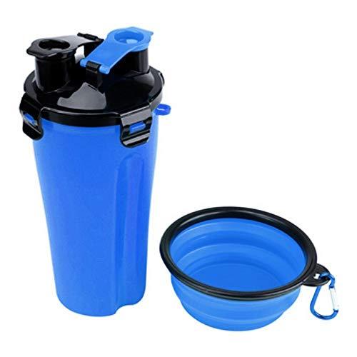 SAKURAM Botella De Agua para Mascotas Botella De HidratacióN Doble CáMara 2 En 1 Mascota Alimento Contenedor Almacenamiento Botella para Beber AIRE Libre Suministros Botella Portátil de Agua Potable