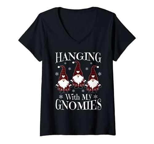 Damen Hängender Gartenzwerg mit meinen Gnomies Weihnachtsmann T-Shirt mit V-Ausschnitt