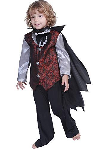 MOMBEBE COSLAND Disfraz de Vampiro Drácula para Niños Camisa con Chorrera Capa