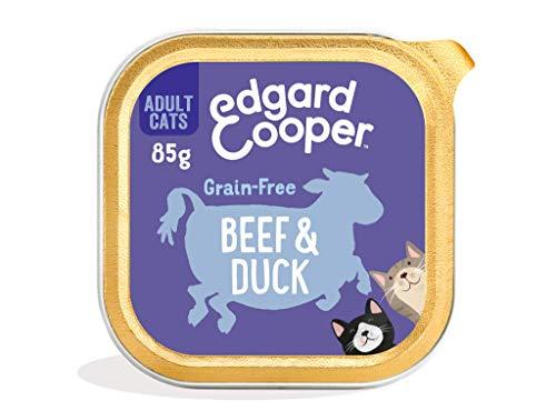 Edgard & Cooper Comida Humeda Gatos Adultos Natural Sin Cereales Esterilizados, Latas 19x85g Ternera y Pato Frescos, Fácil de digerir, Alimentación Sana Sabrosa y equilibrada, Proteína