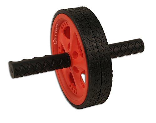 Da Vinci Bauchtrainer mit zwei Rädern, rutschfeste Griffe und Doppelrollen, rot