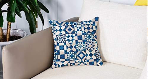 Luoquan Kissenbezüge Super Weich Home Dekoration,Navy Blue Decor, abstrakte geometrische Potugal Style Keramik Textur und unge,Kopfkissenbezug Pillowcase Kissen für Wohnzimmer Sofa Bed,45x45cm