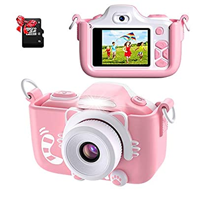 ShinePick Kids Camera, Kids Digital Camera 16MP HD 2.0 Inch Screen Selfie Video Camera with Cartoon Silicone Case & Micro SD Card for Kids from ShinePick