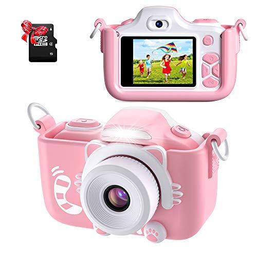 ShinePick Kids Camera, Kids Digital Camera 16MP HD 2.0 Inch Screen Selfie Video Camera with Cartoon Silicone Case & Micro SD Card for Kids(Pink)