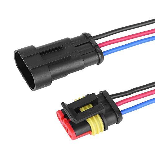 Qiilu-Stecker, 5 Kits 3/4/5/6 Pin Way Sealed Waterproof Connector 3-fach wasserdichter Autodraht Elektrischer Stecker Stecker Stecker/Buchse Stecker mit 10 cm Kabel