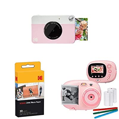 KODAK PRINTOMATIC Digital Instant Print Camera (Pink), with Extra Paper and Kids Instant Print Camera & Video Camcorder Bundle with Frames, Filters for Hours of Fun - Pink from