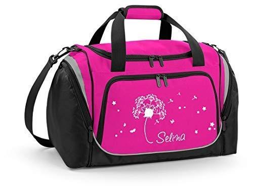 Mein Zwergenland Sporttasche Kinder personalisierbar mit Schuhfach, Kindersporttasche 39L mit Name und Pusteblume Bedruckt in Pink