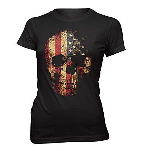 T-Shirt Femmes USA Grunge Mort Look Vintage - Noir, XL