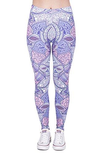 Leggings Fullprint Dames Legging Print Kleurrijke Workout Kleurrijke Volledig bedrukt Ondoorzichtige broek Gym Fitness Sport Yoga Stretch Aztek paars