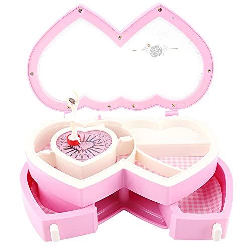 QWSNED Caja de música, caja de música blanca rosa, caja de joyería musical de doble corazón, caja de almacenamiento para niñas pequeñas, decoración de muebles