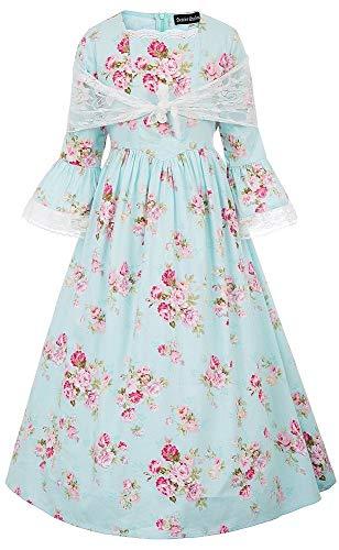SCARLET DARKNESS Meisjes Jurk Victoriaanse 3/4 mouw A-lijn Vintage Bloemen Swing met Hoed voor 6-12 Jaar